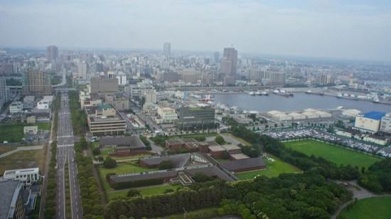 Panorama siang hari dari Chiba Port Tower