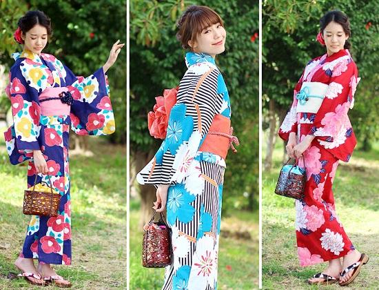 Berbagai macam kimono di Fuuka Kimono