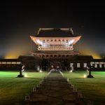 Iluminasi malam di Kuil Zuiryuji Toyama