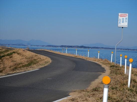 Jalur bersepeda di sepanjang Danau Kasumigaura
