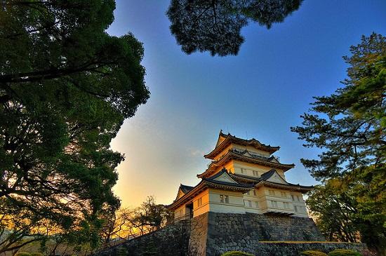 Kastil Odawara di sore hari