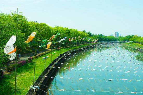 Suasana Koinobori di Gunma Jepang