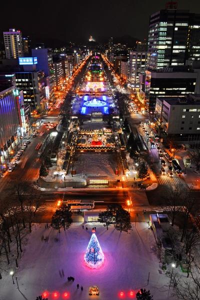 Kota Sapporo saat Sapporo White Illumination