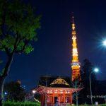 Kuil Zojoji dan Tokyo Tower di malam hari