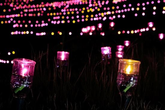 Lampu iluminasi di Shiroyone Senmaida