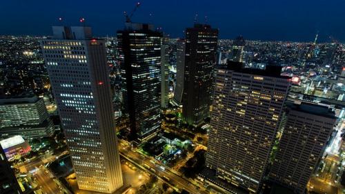 Malam hari di Gedung Pemerintahan Tokyo Metropolitan