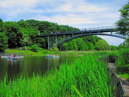 Mengelilingi danau di Taman Funabashi Andersen