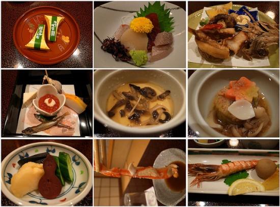 Menu makan malam di Ryokan Mikawaya Hakone