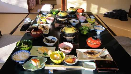 Menu sarapan di Ryokan Mikawaya Hakone