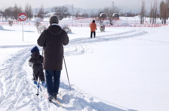 Menyusuri jalan salju di Sapporo Satoland