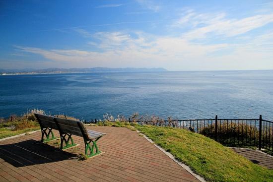 Panorama laut Tsugaru dari Cape Tachimachi