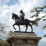 Patung berkuda Date Masamune di Kastil Aoba
