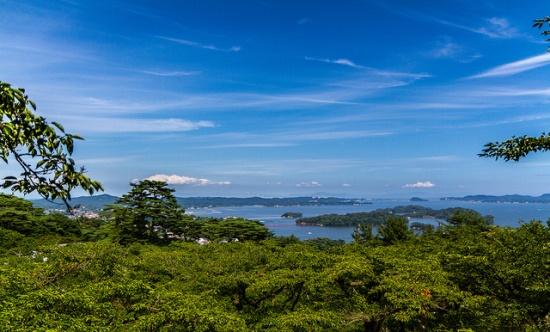 Pemandangan Matsushima Sendai dari observasi Tomiyama