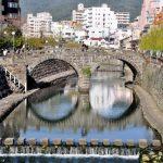 Pemandangan Megane Bridge di Nagasaki
