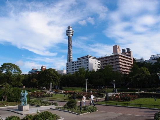 Pemandangan Taman Yamashita di Yokohama
