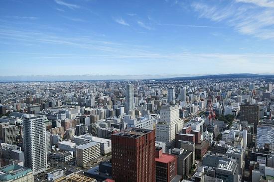 Pemandangan kota Sapporo dari JR Tower Observation Deck