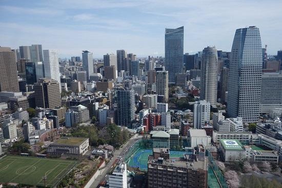 Pemandangan kota Tokyo dari dek observasi Tokyo Tower
