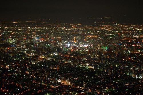 Pemandangan malam Sapporo di Hokkaido