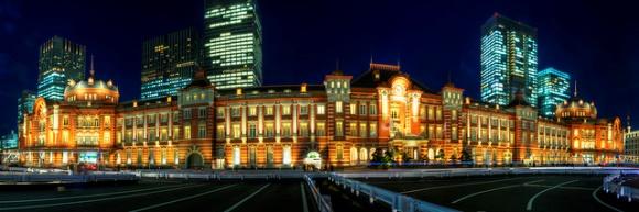 Pemandangan malam stasiun Tokyo