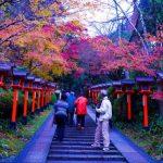 Pemandangan momiji musim gugur di Kuil Kurama