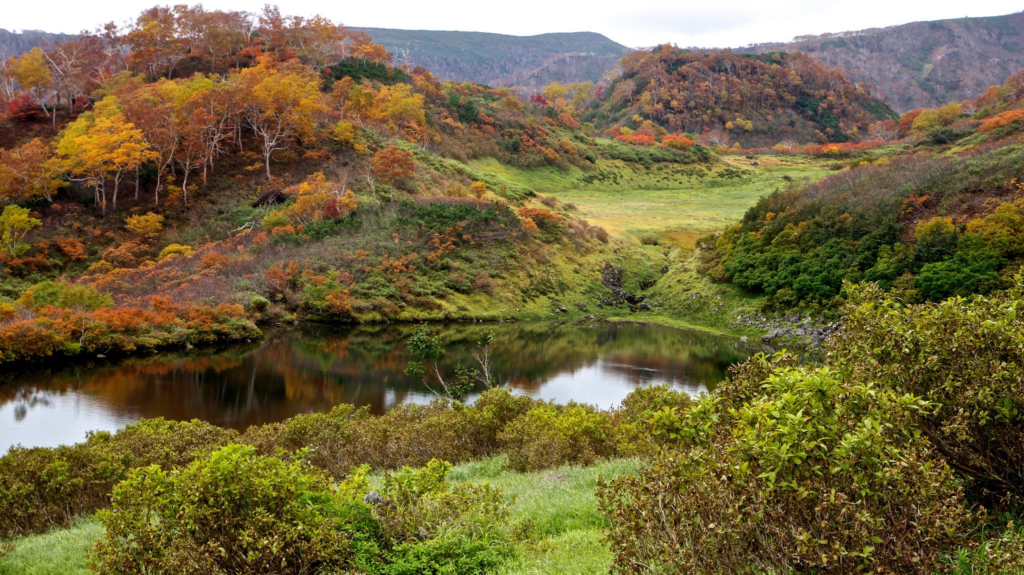 Pemandangan musim gugur di jalur hiking Kogen