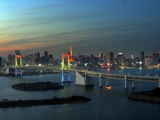Pemandangan pagi hari dari Gedung Fuji Televisi