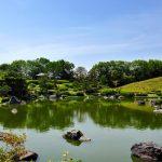 Pemandangan taman Jepang di Taman Daisen