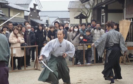 Pengambilan gambar adegan film di Toei Kyoto Studio Park