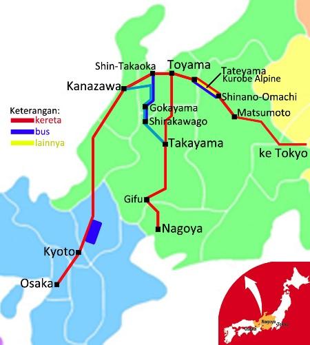 Peta Tateyama dan Shirakawago Jepang
