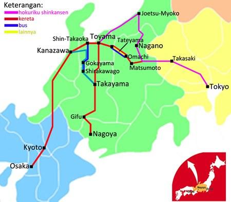 Peta Tokyo Osaka Hokuriku Arch Pass