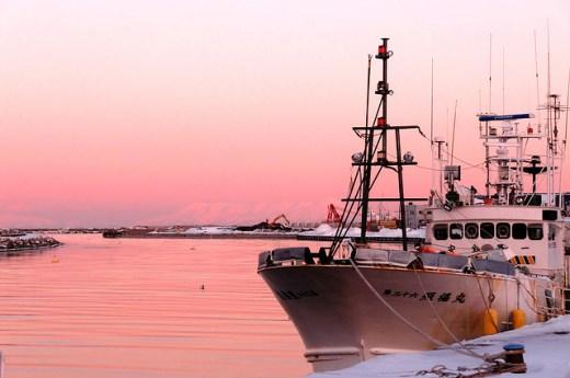 Senja hari di Pelabuhan Abashiri Hokkaido
