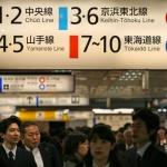 Suasana stasiun kereta di Tokyo