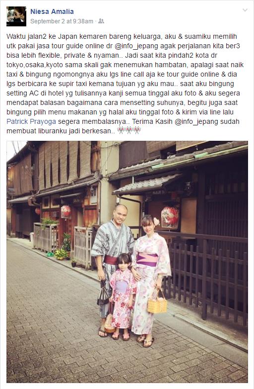 Testimoni Niesa Amalia untuk Tour Guide Online Info Jepang