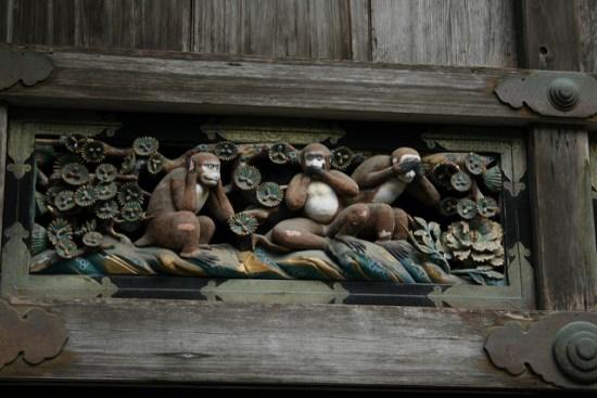 Tiga monyet di Kuil Nikko Toshogu Tochigi