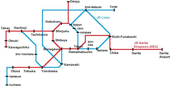 area yang dicover NEX Tokyo Round Trip Ticket