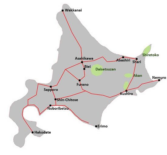 Rute kereta di Hokkaido