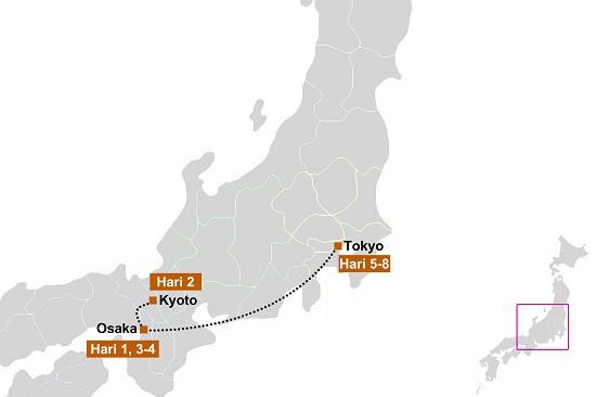 peta itinerary Tokyo Osaka 8 hari