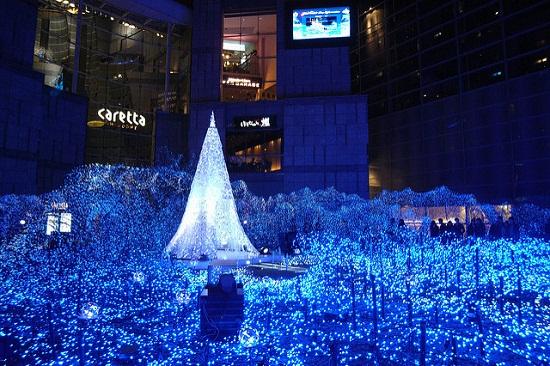 keindahan lampu Caretta Shiodome Illumination