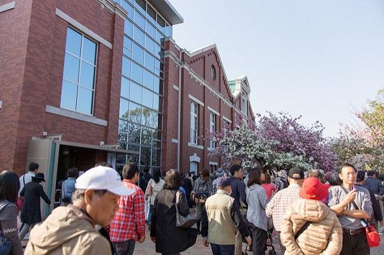 lorong sakura di depan museum uang logam jepang