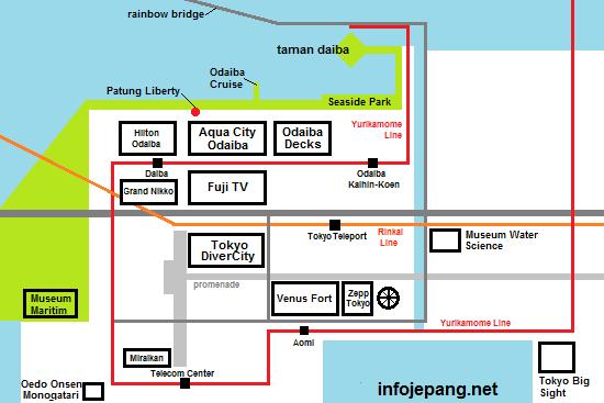 Peta Lokasi Tempat wisata di Odaiba Jepang